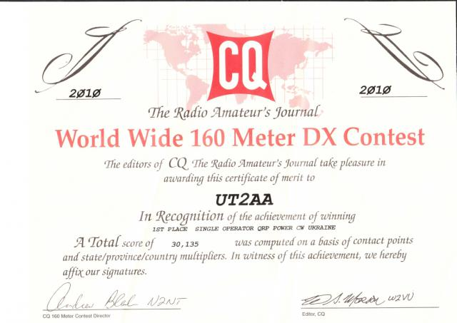 1 место в CQ WW DX contest 2010 !